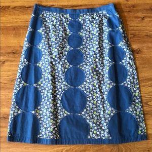 Boden Blue Flower Circle Appliqué Skirt